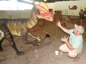 Robert Gay, one of our guest tweeters at SVP and author of the Dilophosaurus post, posing with the beast!